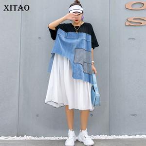 XITAO Tide Plus Size Patchwork Chiffon Dress Women Clothes 2020 Summer Irregular Pullover Short Sleeve Elegant Dress GCC3586