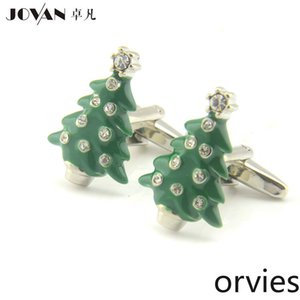 2020 Green Christmas Tree Cufflinks Christmas Pine Cufflinks Fun Styling Men's Cuffnails