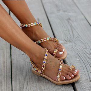 Mulheres Plano Rhinestone Thong Mulher Pu Leather Slip On fêmea da praia de sapatos da moda calçado Dropshipping Sandals Senhoras novas do verão