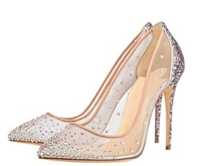 2020 new fashion shoes Rhinestone pointed toes high heels chic ladies shoes sapatos melissa stiletto heels women pumps white wedding shoes