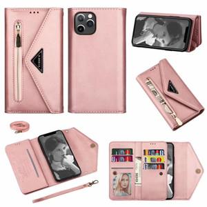 Top Wallet Flip Phone Case Sac Messenger Sac cas pour iphone 11 cas pro carte sangle Shell poignet pour iPhone XS Max XR 7