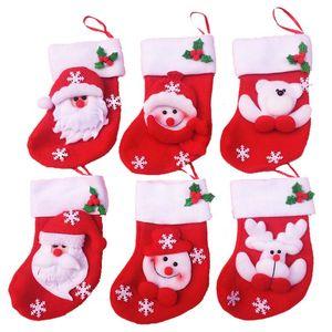 크리스마스 트리 장식 산타 클로스 패턴 장식 매달려 8 * 8cm 미니 크리스마스 양말 크리스마스 스타킹 새해 캐디 백 스타킹