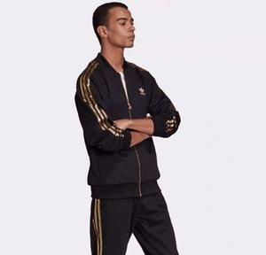 Pantolon ile Eşofman Takımı Erkekler Spor Suit Ter Üç Çizgili Eşofman Erkek Spor ceketler Hoodie 2 Adet