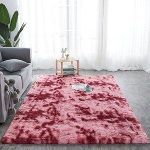 RULDGEE Beautiful Shaggy Alfombra Tie Dye Carpet Plush Silky Rugs Kids Room Floor Fluffy Mats Faux Fur Area Rug Living Room Mats