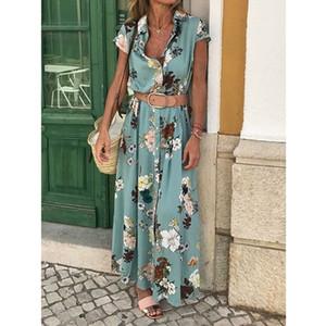 Boho Maxi Long Dress Women Beach Floral Print Sundress Summer Evening Party Elegant Shirt Dress Casual Dresses Vestido 2020 New