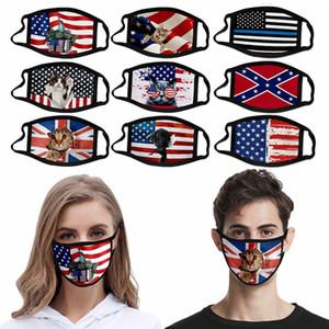 2020 American Flag Face Mask Waschbar Wiederverwendbare Ice Seide gedruckte Maske Mississippi Flag American Independence Day Anti-Staub-Masken HHA1473