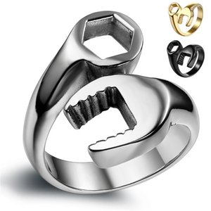 Vintage Men's Rings Cool Biker Rings Mechanic Wrench Stainless Steel Punk Rings Silver Color masculino Male Jewelry