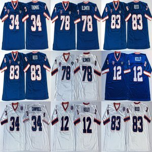 NCAA Jim Kelly Jersey 34 Thurman Thomas Earl Campbell 78 Bruce Smith Andre Reed White Blue Retro Football Jerseys Stitched Mens