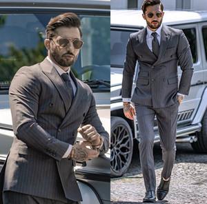 2020 Красивые темно-серые полосы мужской костюм Новый модный жених костюм формальные свадебные костюмы для лучших мужчин Slim Fit Groom Tuxedos для человека