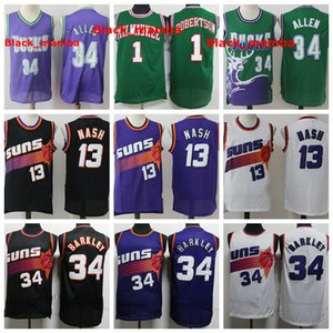 Vintage мужского 13 Steve Nash 34 Charles Barkley СолнцеДжерси 34 Рэй Аллен БаксДжерси 1 Оскар Робертсон прошитой Баскетбол Джерси