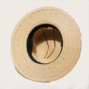 2019 Summer Women Sun Ribbon Bow Brand New Flat Top Raffia Straw hat Holiday Female Beach Hats Sombrero Mujer Verano Y200716