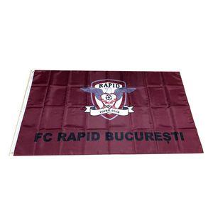 Bandeira da Roménia FC Rapid Bucuresti 3x5ft 150x90cm 100D Polyester Equipa Desportiva Clube Outdoor Hanging frete grátis Rápido