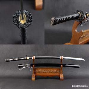 Plegada de acero patrón de la espada japonesa de la espiga completa hoja afilada hecha a mano Kobuse Cray templado samuri Katana Martial Crafts Home Collection Espada