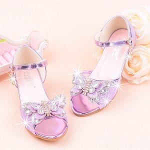 De tacón alto de las sandalias de la princesa-púrpura Aisha zapatos de cuero rendimiento 9eDwQ de las muchachas del estilo de Corea de los niños del bowknot sh hielo-nieve Nueva tacón alto