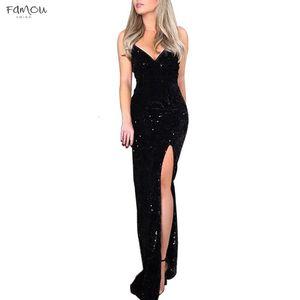 Deep V Sequins Dress Women Wrap Ruched Sleeveless Black Long Dresses Ladies Cocktail Nightclub Party Dress Vestidos 2020 Z0906