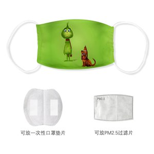 Green hair monster printed thin dustproof and haze-proof washing cloth mask PM2.5 filter can be placed