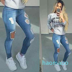 Hot sale-Hot Stylish Women's Pencil Stretch Casual Hole Denim Pants High Waist Jeans Trousers