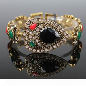 Large Gemstone Bracelet Heart Water Drop Shaped Bracelets Colorful Resin Retro Jewelry