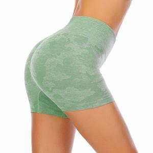 Camouflage Seamless High Waist Yoga Shorts Camo Workout Shorts Elastic Squatproof Fitness Running Sport Women Gym Legging