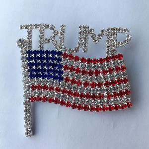 Trump Brooch Pin Diamond Flag Brooch Rhinestone Letter Trump Brooches Crystal Badge Coat Dress Pins Clothes Jewelry GGA3593