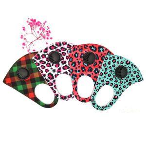 Leopard PM2,5 Masques visage avec Respirabilité Lavable Valve anti-poussière Masque réglable Impression Coton Visage Masques bouche RRA3326