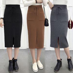 2020 Autumn Winter New Women Elastic High Waist Solid Skirts Knitted Medium Long Sweater Midi Skirt with Pocket & Button Q59