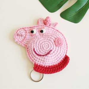 Creative cartoon knitted bag Pink Panther case key case wool key cover handmade wool small gift