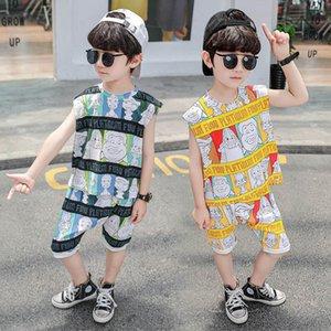Summer cartoon casual boys suits kids tracksuit cotton Vest+shorts 2pcs set kids designer clothes boys clothes boys tracksuit B1825
