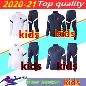 2020 2021 FR MBAPE Kinder Fußballjacke Trainingsanzug Surveetement 20/21 Griezmann Kante Pogba Kind Maillot de Foot Training Anzug Jogging Chandal