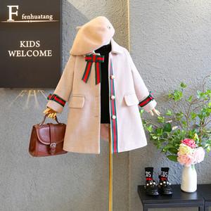 2020 neue Mädchen Perlmuttknopf Wollmantel Jacke Kinder Kinder Boutique Kleidung Baby-Kinderkleidung Outwear Mantel