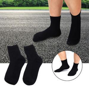 5 Pairs Solid Color Cotton Socks Breathable Medium Tube Socks Spring Summer Mesh (Black)