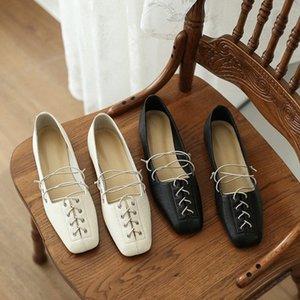 2020 Новый плоские туфли женские Мокасины натуральная кожа Удобные мягкие квадратные головы Мокасины женские Повседневная обувь Chaussures Femme Skechers WGBo #