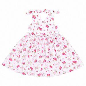 Flofallzique 유아 소녀 드레스 아기 여름 귀여운 딸기 V 넥 편안한 코튼 키즈 의류 9olw #