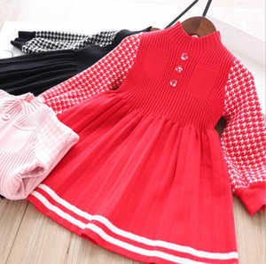 Girls Tarve Case Confecção de Tricô Vestido 2020 Queda Novas Crianças Estande Colarinho Confecção de Manga Longa Dress Kids Sweater Plissado Vestido A3542