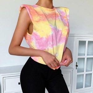 Women Summer Sleeveless Slim Tank Top Contrast Color Gradient Tie-Dye Vest Shoulder Padded Round Neck Casual Streetwear