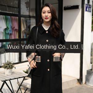 Dan Yafei nueva lana de doble cara capa delgada de las mujeres de lana cosida abrigo de lana