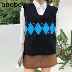 Women Sleeveless Pullover Autumn 2020 England Style Vintage Geometric Rhombic V Neck Knitted Sweater Vest Black Waistcoat T360