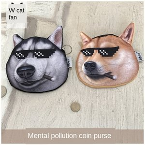 Lunettes de soleil cool Husky deux ha doge pièce Lunettes de soleil tête chien sac à main portefeuille de sac à main portefeuille créatif petit sac