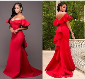 2020 Gorgeous Red Mermaid Evening Dresses Off the Shoulder Backless Maid of Honor Floor Length Satin prom Party Dress Plus Size Cheap
