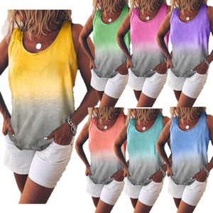 7 색 여성 T 셔츠 패션 캐주얼 그라데이션 프린트 T 셔츠 조끼 민소매 끈이 T 셔츠 S-XXXXXL