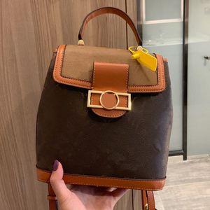 Frauen-Rucksack-Spielraum-Beutel-Schule-Beutel Handtaschen Portemonnaie Mode Old Blume Twist-Lock-Design-großer Kapazitäts-Brief-echtes Leder Presbyopic