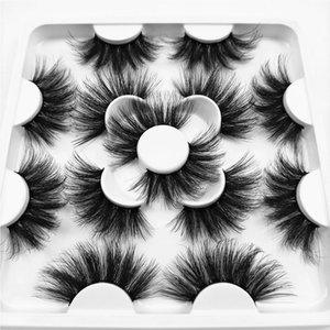 2020 New 7 pares 25mm naturales falsas pestañas falsas pestañas largo maquillaje visón 3d pestañas pestañas de visón extensión de la pestaña de la belleza KS071