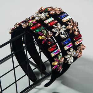 banda para el cabello ins barroco franela de diamantes de imitación de alta gama súper flash de banda para la cabeza pasarela de moda femenina