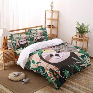 Sloth animal Forest Green Nature impressão dos desenhos animados Jogo do fundamento Home Textiles Folha de cama edredon cobrir fronha Individual Duplo Set Bed