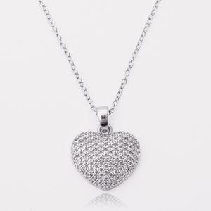 European and American fashion full diamond Korean peach heart necklace personality micro set Love Pendant Amazon hot Wedding Jewelry