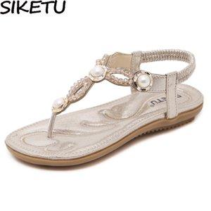 SIKETU 2020 Mujeres Pisos sandalias Bohemia étnico tirón fila de perlas de perlas informal flop Crystal Beach Summer Comfort zapatos de novia