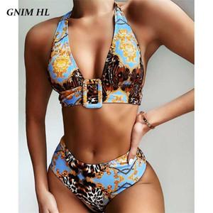 GNIM High Waist Bikini Mujer 2020 Sexy Backless Print Swimwear Women Two Pieces Beachwear Summer Cross Neck Swimsuit Biquini Set