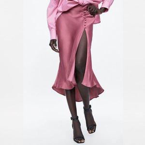 Moda de cetim rosa mulheres saia luz Rivet assimétrica fenda alta design slim casuais escritório Senhora do verão drapeado midi saia vestidos T200712