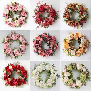 de fleurs artificielles Couronne Pivoine Couronne Diamètre Pivoine porte ronde guirlande de fleurs Décoration d'intérieur Porte d'entrée