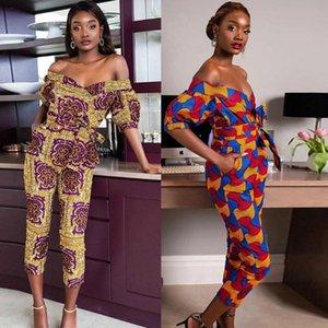 2020 Summer Dashiki Dress Women's African Clothing Off-shoulder V Neck Long Pants Jumpsuit Floral Print Ankara Jumpsuit Overalls